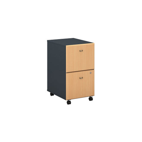 Bush Series A 2 Drawer Mobile Pedestal - Assembled, Beech WC14352PSU ; UPC: 042976253417 ; Image 1