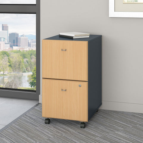 Bush Series A 2 Drawer Mobile Pedestal - Assembled, Beech WC14352PSU ; UPC: 042976253417 ; Image 2
