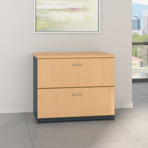 Bush Series A 36W 2-Drawer Lateral File - Assembled, Beech WC14354PSU ; UPC: 042976453411 ; Image 2