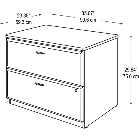 Bush Series A 36W 2-Drawer Lateral File - Assembled, Beech WC14354PSU ; UPC: 042976453411 ; Image 4