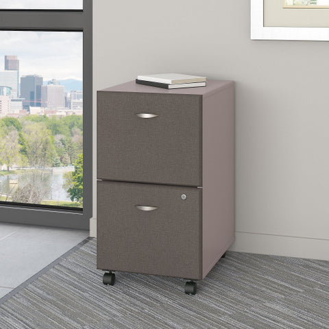 Bush Series A 2 Drawer Mobile Pedestal - Assembled, Pewter WC14552PSU ; UPC: 042976255411 ; Image 2
