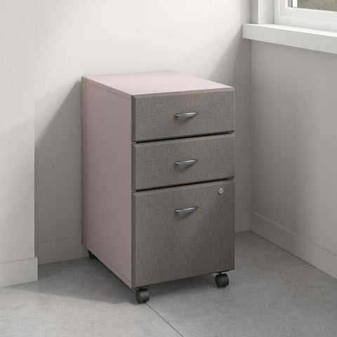 Bush Series A 3 Drawer Mobile Pedestal, Pewter WC14553P ; UPC: 042976145538 ; Image 2