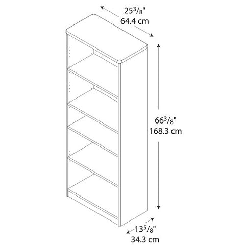 Bush Series A 26W 5-Shelf Bookcase, Pewter WC14565 ; UPC: 042976145651 ; Image 2