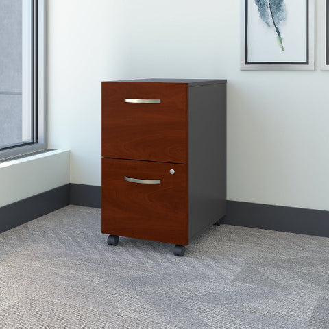 Bush Series C 2 Drawer Mobile Pedestal - Assembled, Hansen Cherry WC24452SU ; UPC: 042976254421 ; Image 2