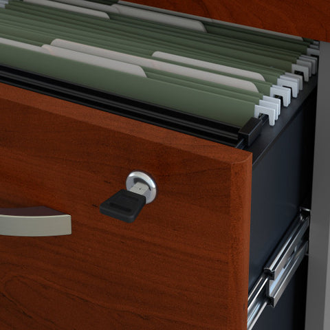 Bush Series C 2 Drawer Mobile Pedestal - Assembled, Hansen Cherry WC24452SU ; UPC: 042976254421 ; Image 4