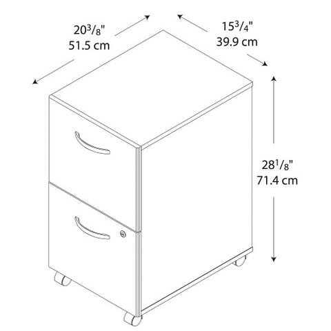 Bush Series C 2 Drawer Mobile Pedestal - Assembled, Hansen Cherry WC24452SU ; UPC: 042976254421 ; Image 6
