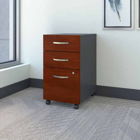 Bush Series C 3 Drawer Mobile Pedestal, Hansen Cherry WC24453 ; UPC: 042976244538 ; Image 2