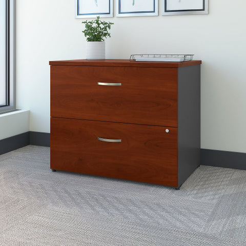 Bush Series C 36W 2 Drawer Lateral File - Assembled, Hansen Cherry WC24454CSU ; UPC: 042976244941 ; Image 2