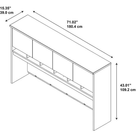Bush Series C 72W 4 Door Hutch, Hansen Cherry WC24477K ; UPC: 042976244774 ; Image 2