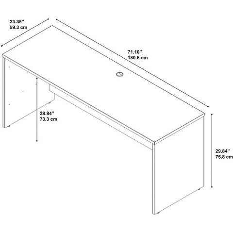 Bush Series C Elite 72W x 24D Desk/Credenza/Return, Hansen Cherry WC24526 ; UPC: 042976497422 ; Image 4