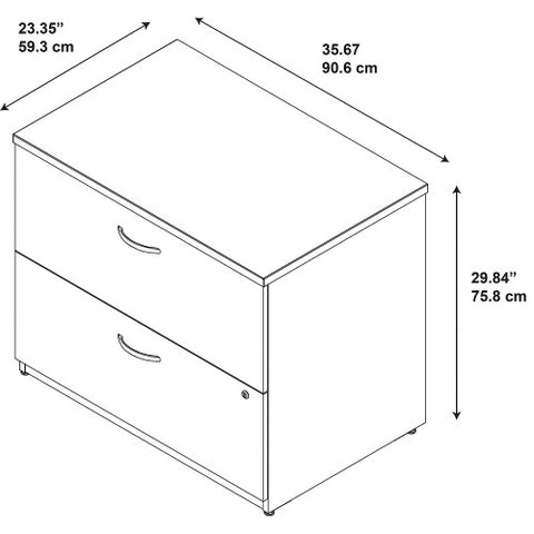 Bush Series C Elite 36W 2 Drawer Lateral File - Assembled, Hansen Cherry WC24554CSU ; UPC: 042976497064 ; Image 3