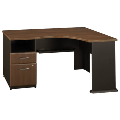 Bush Series A Single 2 Drawer Pedestal Corner Desk, Walnut WC25528PA ; UPC: 042976089917 ; Image 1