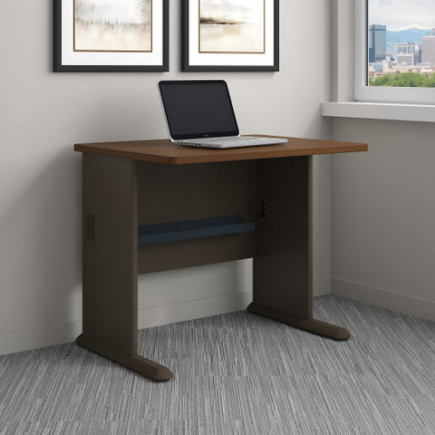 Bush Series A 36W Desk, Walnut WC25536 ; UPC: 042976255367 ; Image 2