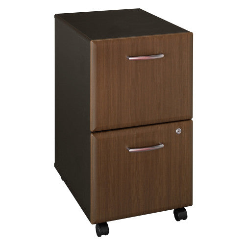 Bush Series A 2 Drawer Mobile Pedestal, Walnut WC25552P ; UPC: 042976225520 ; Image 1