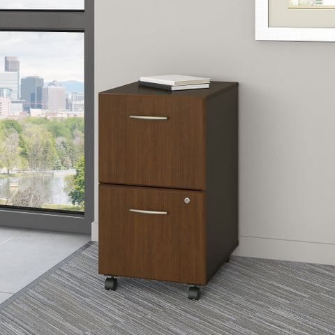 Bush Series A 2 Drawer Mobile Pedestal, Walnut WC25552P ; UPC: 042976225520 ; Image 2