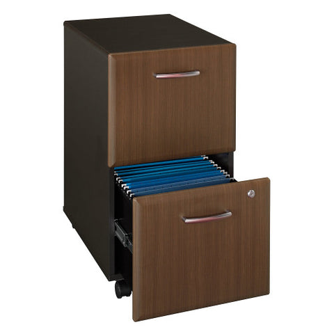 Bush Series A 2 Drawer Mobile Pedestal, Walnut WC25552P ; UPC: 042976225520 ; Image 3