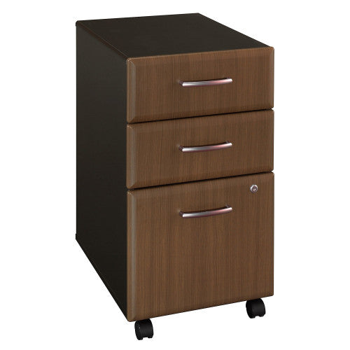 Bush Series A 3 Drawer Mobile Pedestal - Assembled, Walnut WC25553PSU ; UPC: 042976255565 ; Image 1