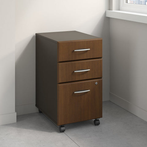 Bush Series A 3 Drawer Mobile Pedestal - Assembled, Walnut WC25553PSU ; UPC: 042976255565 ; Image 2
