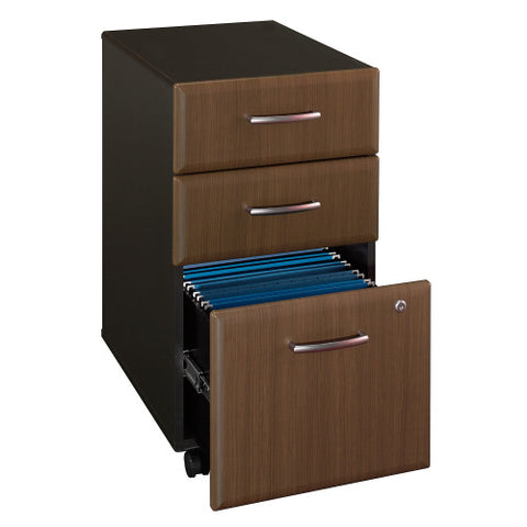 Bush Series A 3 Drawer Mobile Pedestal - Assembled, Walnut WC25553PSU ; UPC: 042976255565 ; Image 3
