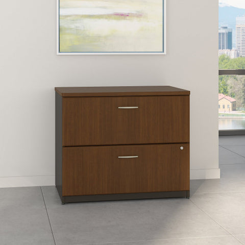 Bush Series A 36W 2-Drawer Lateral File, Walnut WC25554P ; UPC: 042976255541 ; Image 2