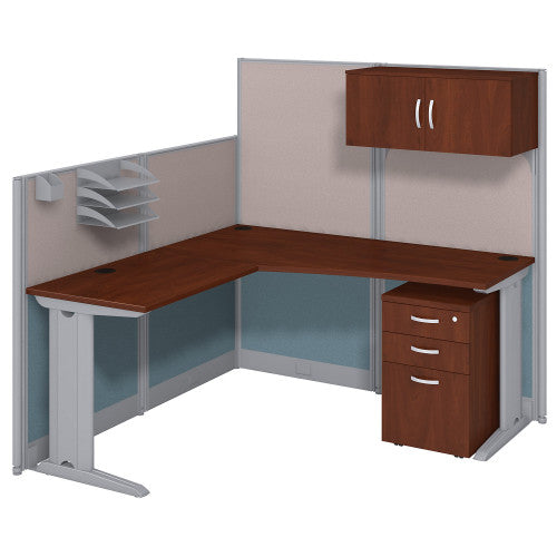 Bush Business Furniture Office in an Hour 65W x 65D L Shaped Cubicle Workstation with Storage in Hansen Cherry ; Image 1