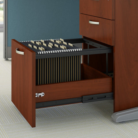 Bush Business Furniture Office in an Hour 65W x 65D L Shaped Cubicle Workstation with Storage in Hansen Cherry ; Image 3