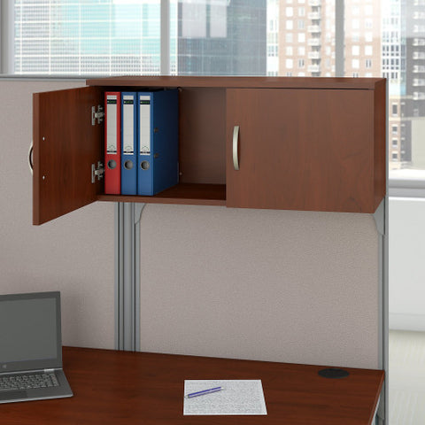 Bush Business Furniture Office in an Hour 65W x 65D L Shaped Cubicle Workstation with Storage in Hansen Cherry ; Image 4