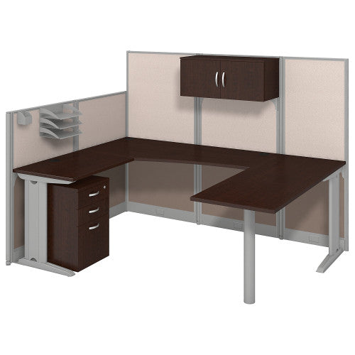 Bush Office in an Hour 89W x 65D U Workstation with Storage , Mocha Cherry WC3689603STGK ; UPC: 042976365233