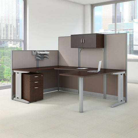 Bush Office in an Hour 89W x 65D U Workstation with Storage , Mocha Cherry WC3689603STGK ; UPC: 042976365233 ; Image 2