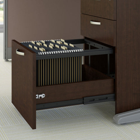 Bush Office in an Hour 89W x 65D U Workstation with Storage , Mocha Cherry WC3689603STGK ; UPC: 042976365233 ; Image 3