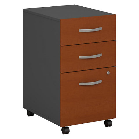 Bush Series C 3 Drawer Mobile Pedestal - Assembled, Auburn Maple WC48553SU ; UPC: 042976048556 ; Image 1