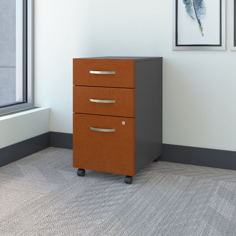 Bush Series C 3 Drawer Mobile Pedestal - Assembled, Auburn Maple WC48553SU ; UPC: 042976048556 ; Image 2