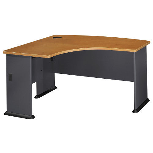 Bush Series A 60W x 44D Left Hand L-Bow Desk, Natural Cherry WC57433 ; UPC: 042976574338 ; Image 1
