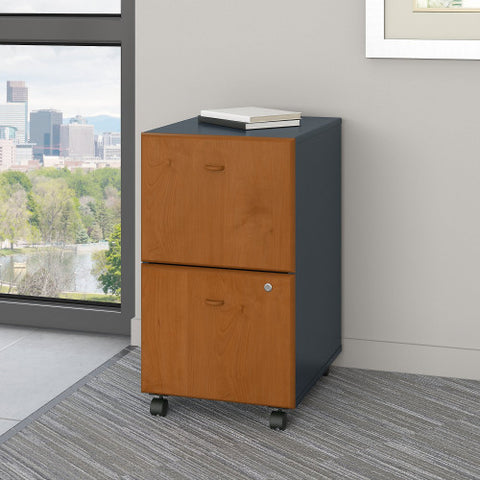 Bush Series A 2 Drawer Mobile Pedestal - Assembled, Natural Cherry WC57452PSU ; UPC: 042976574925 ; Image 2