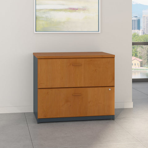 Bush Series A 36W 2-Drawer Lateral File - Assembled, Natural Cherry WC57454PSU ; UPC: 042976574949 ; Image 2