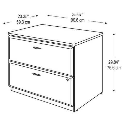 Bush Series A 36W 2-Drawer Lateral File - Assembled, Natural Cherry WC57454PSU ; UPC: 042976574949 ; Image 4