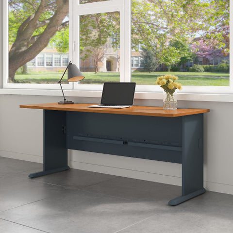 Bush Series A 72W Desk, Natural Cherry WC57472 ; UPC: 042976574727 ; Image 2