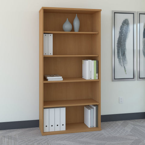 Bush Series C 36W 5-Shelf Bookcase, Light Oak WC60314 ; UPC: 042976603144 ; Image 2