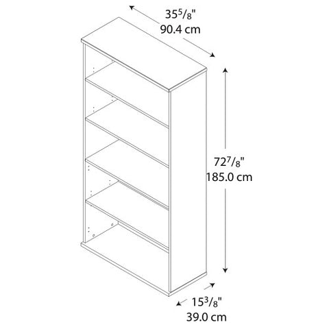 Bush Series C 36W 5-Shelf Bookcase, Light Oak WC60314 ; UPC: 042976603144 ; Image 3