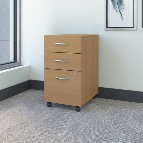 Bush Series C 3 Drawer Mobile Pedestal, Light Oak WC60353 ; UPC: 042976603533 ; Image 2