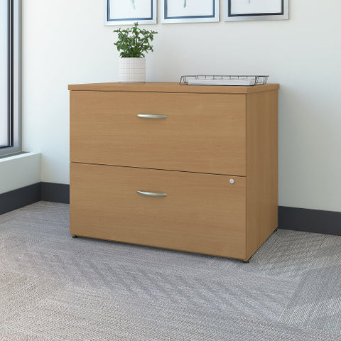 Bush Series C 36W 2-Drawer Lateral File - Assembled, Light Oak WC60354CSU ; UPC: 042976453060 ; Image 2