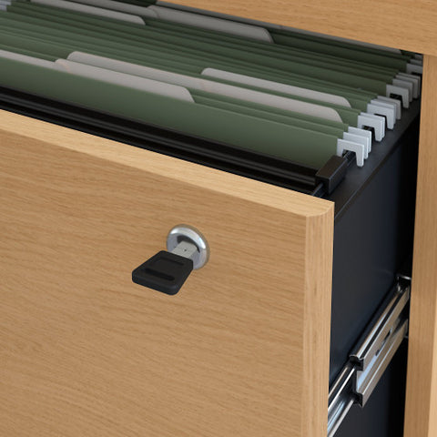 Bush Series C 36W 2-Drawer Lateral File - Assembled, Light Oak WC60354CSU ; UPC: 042976453060 ; Image 3