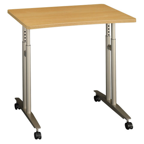 Bush Series C Adjustable Height Mobile Table, Light Oak WC60382 ; UPC: 042976603823 ; Image 1