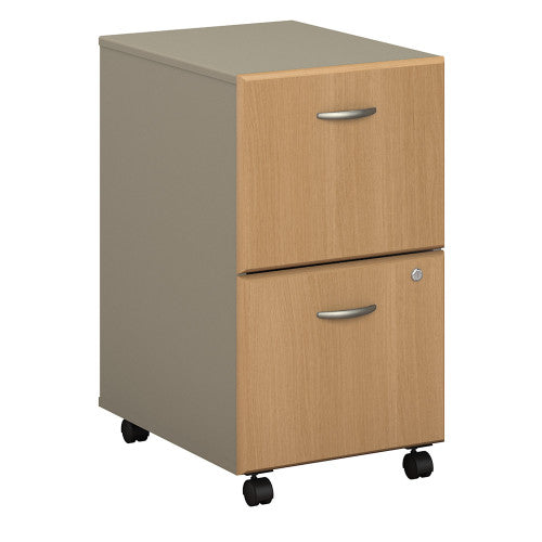 Bush Series A 2 Drawer Mobile Pedestal, Light Oak WC64352P ; UPC: 042976643522 ; Image 1