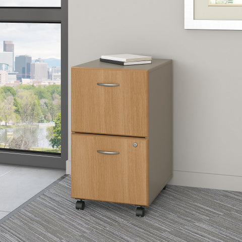 Bush Series A 2 Drawer Mobile Pedestal, Light Oak WC64352P ; UPC: 042976643522 ; Image 2