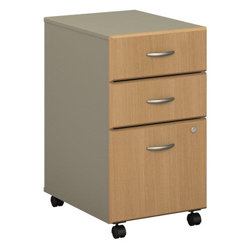 Bush Series A 3 Drawer Mobile Pedestal - Assembled, Light Oak WC64353PSU ; UPC: 042976353469 ; Image 1