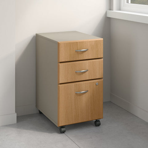 Bush Series A 3 Drawer Mobile Pedestal - Assembled, Light Oak WC64353PSU ; UPC: 042976353469 ; Image 2