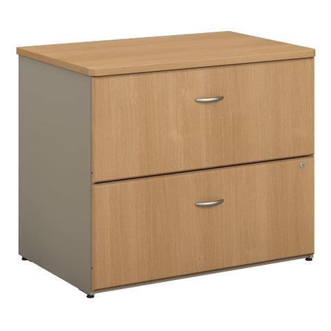 Bush Series A 36W 2-Drawer Lateral File, Light Oak WC64354P ; UPC: 042976643546 ; Image 1