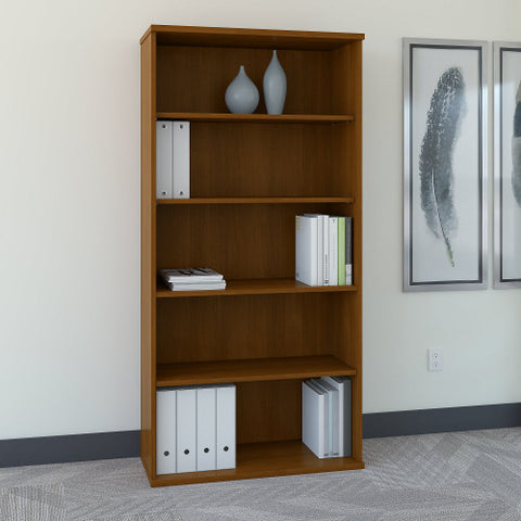 Bush Series C 36W 5-Shelf Bookcase, Warm Oak WC67514 ; UPC: 042976675141 ; Image 2