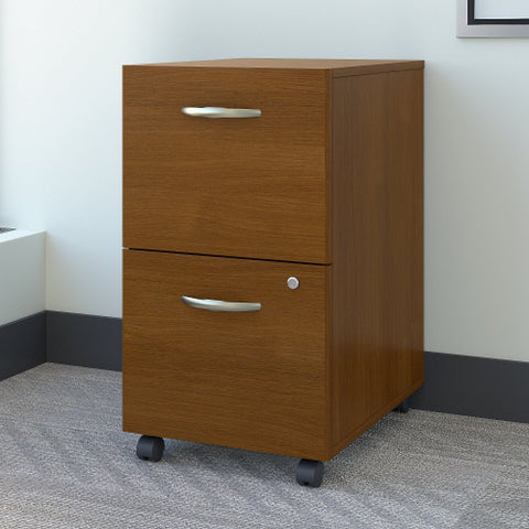 Bush Series C 2 Drawer Mobile Pedestal - Assembled, Warm Oak WC67552SU ; UPC: 042976675509 ; Image 2